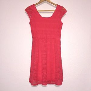 Xhiliration coral red printed sun dress NWOT